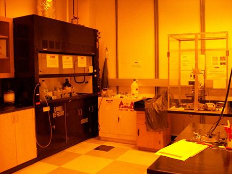 Ozone cleaner optical microscope 60 ton press spinner in fume hood